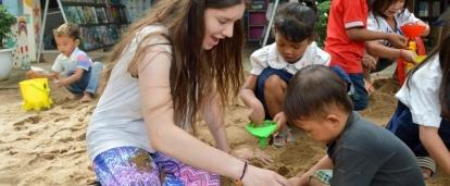 Part of the Experiential Learning model in Cambodia for middle school students, is for students to help at a kindergarten.